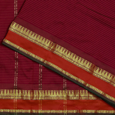 Mulberry | Maroon Color Pure Cotton Saree