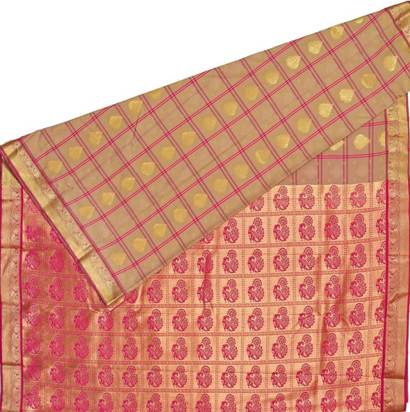 Mulberry | Cream Color Art Silk Tana Saree