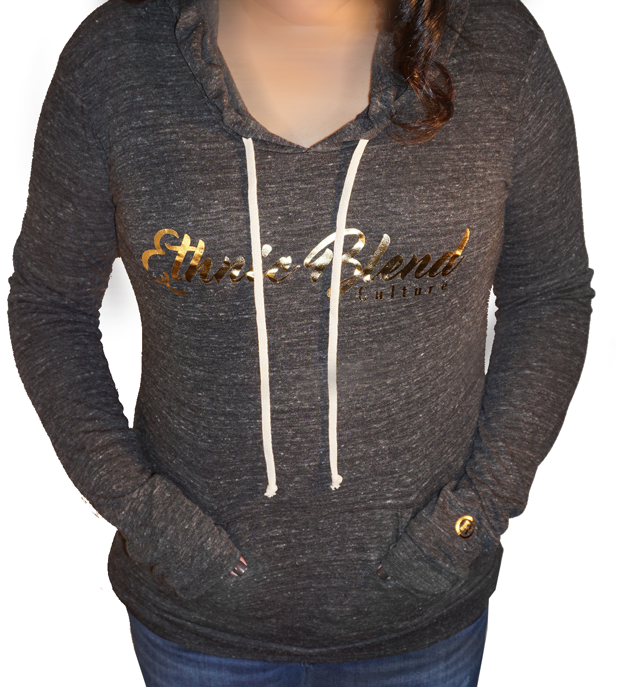 Ladies EBC Hoody Heather Gray with Gold Foil