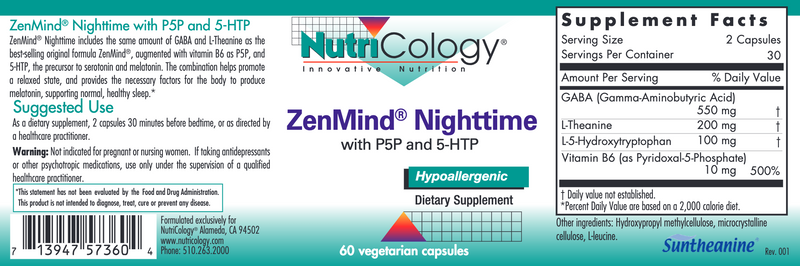 ZenMind Night w P5P and 5-HTP 60 vegcaps