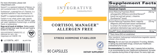 Cortisol Manager - Allergen Free - 90 vcaps
