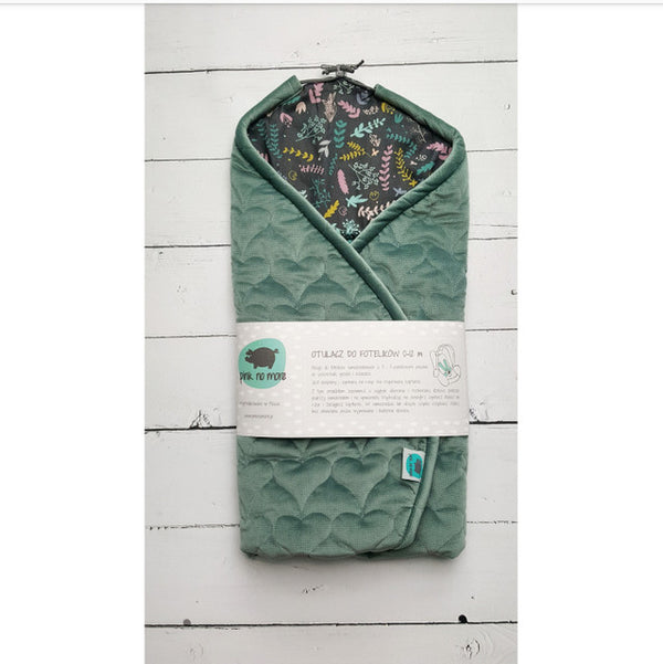 Car seat blanket - Green Botanic