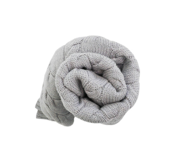 100% Merino Wool Blanket - Grey