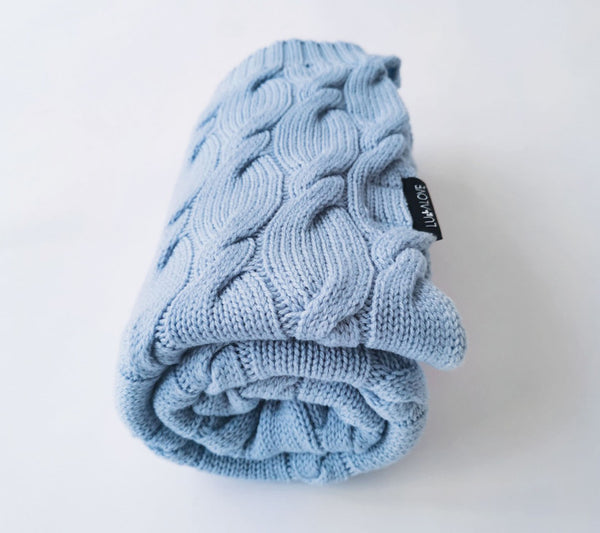 100% Merino Wool Blanket - Baby Blue
