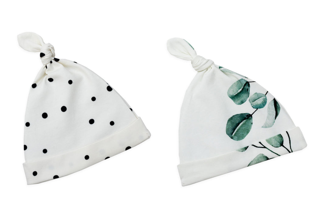 Baby knotted hats - Black dots & eucalyptus (2 pack)