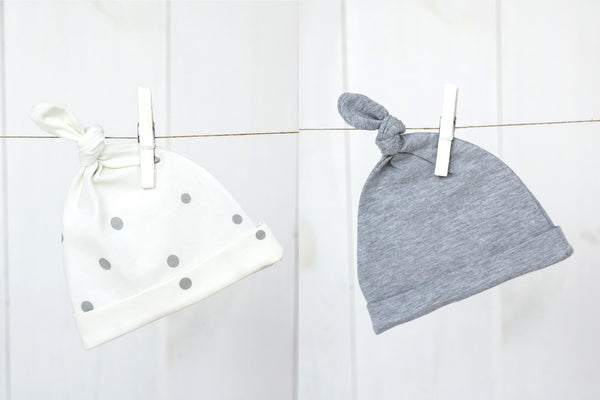 Baby knotted hats - Grey dots & melange grey (2 pack)