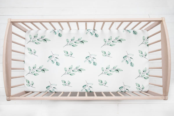 Cot bed fitted sheet - Eucalyptus
