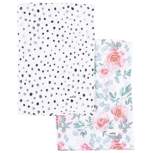 Muslin Swaddles (set of 2) - Peony & Dots