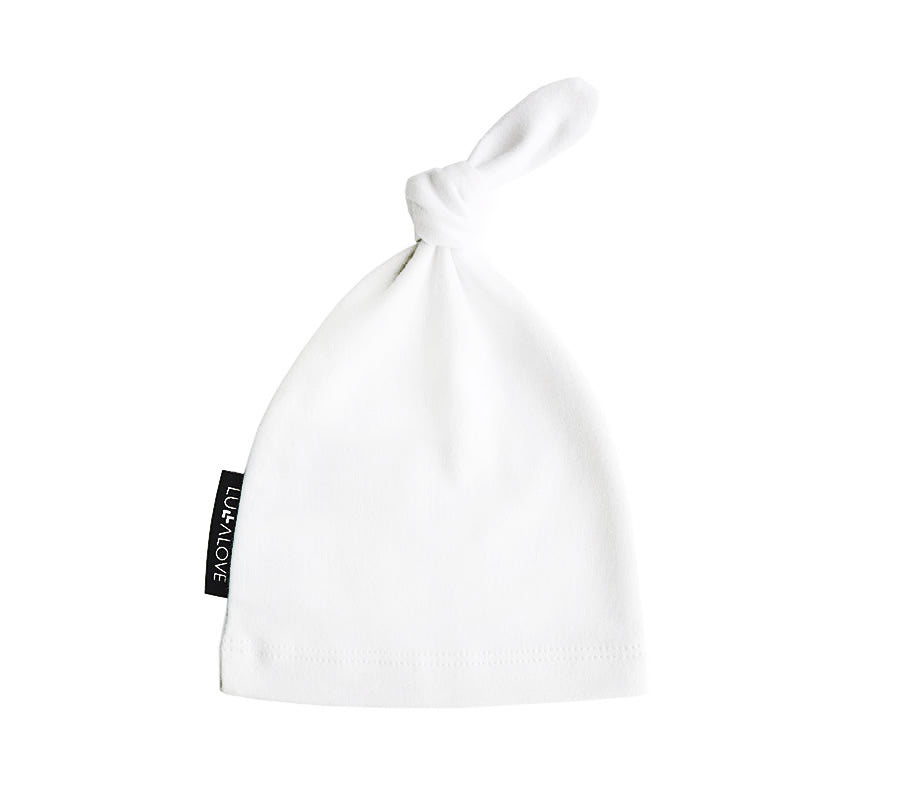 Baby knotted hat - White (3-9 months)
