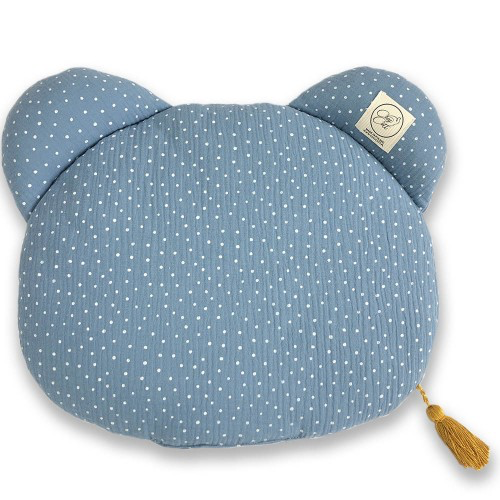 Muslin bedding set - Baby blue & dots