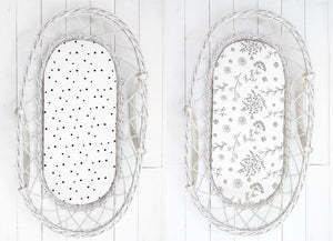 Moses basket/carrycot fitted sheet (2pack) - Bloom & Dots