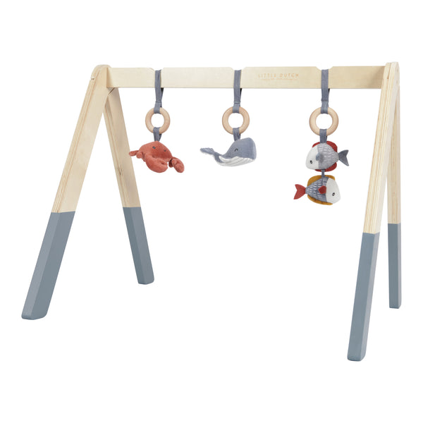 Wooden Baby Gym with toys - Ocean Blue