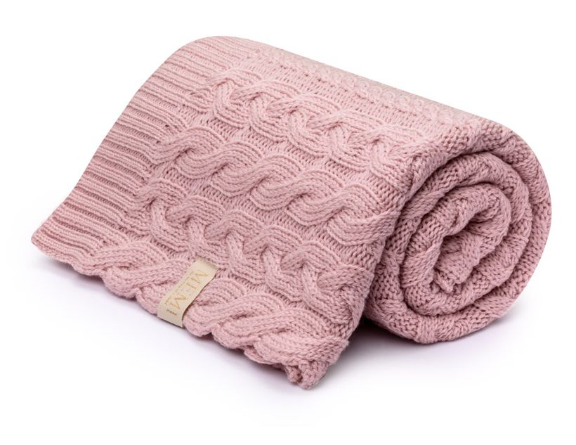 MEMI Premium 100% Merino Wool Blanket - Braided Powder Pink