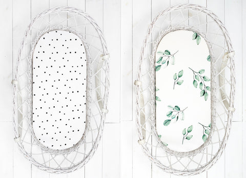 Moses basket/carrycot fitted sheet (2pack) - Dots & Eucalyptus