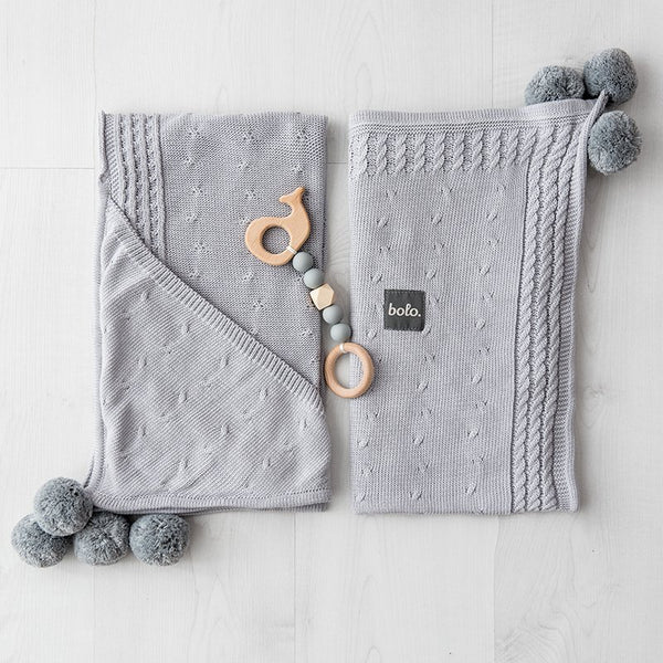 Bamboo Blanket with Hood & PomPoms - Grey