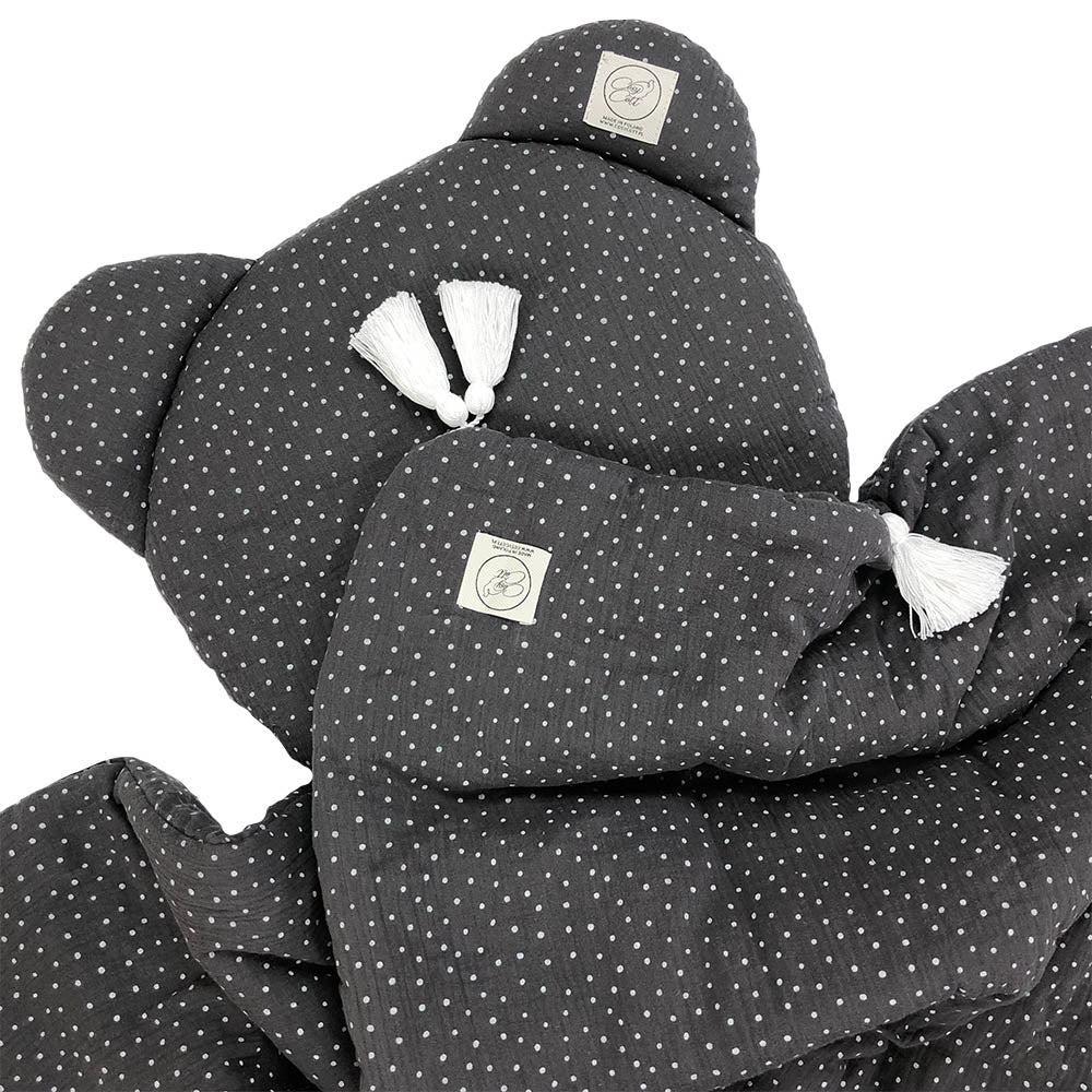 Muslin bedding set - Graphite & dots
