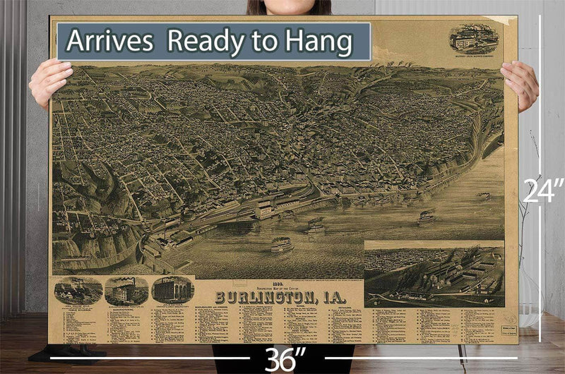 1889 Perspective Vintage Map Of The City Of Burlington Ia Vintage Map