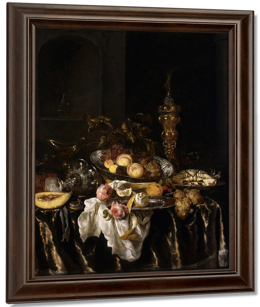 A Banquet Still Life With Roses By Abraham Van Beyeren