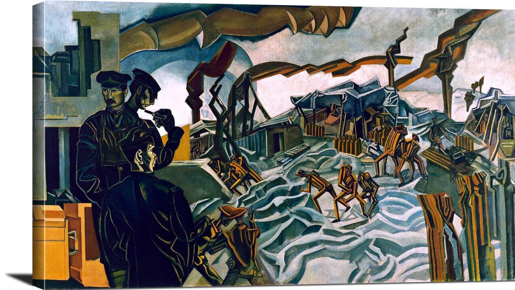 A Battery Shelled Painting Percy Wyndham Lewis Canvas Art