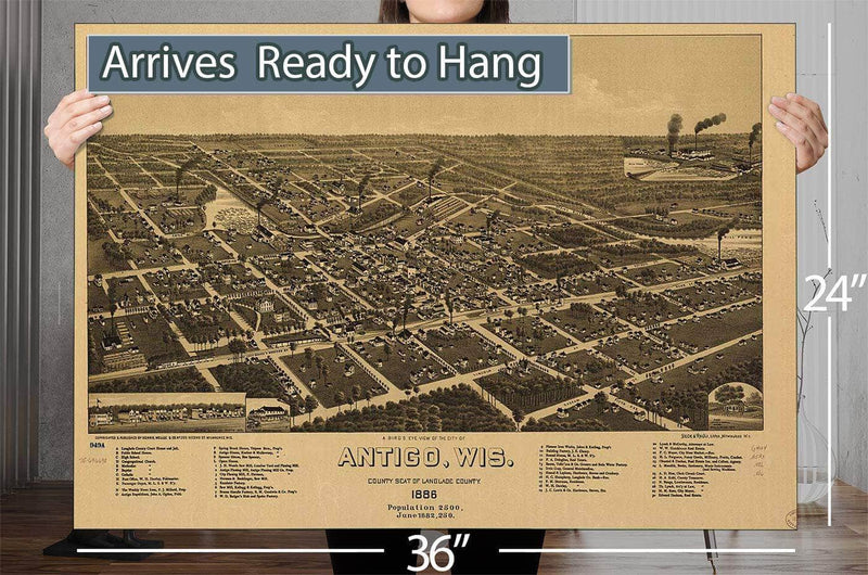 A Bird's Eye View Of The City Of Antigo Wis County Seat Of Langlade County 1886 Vintage Map