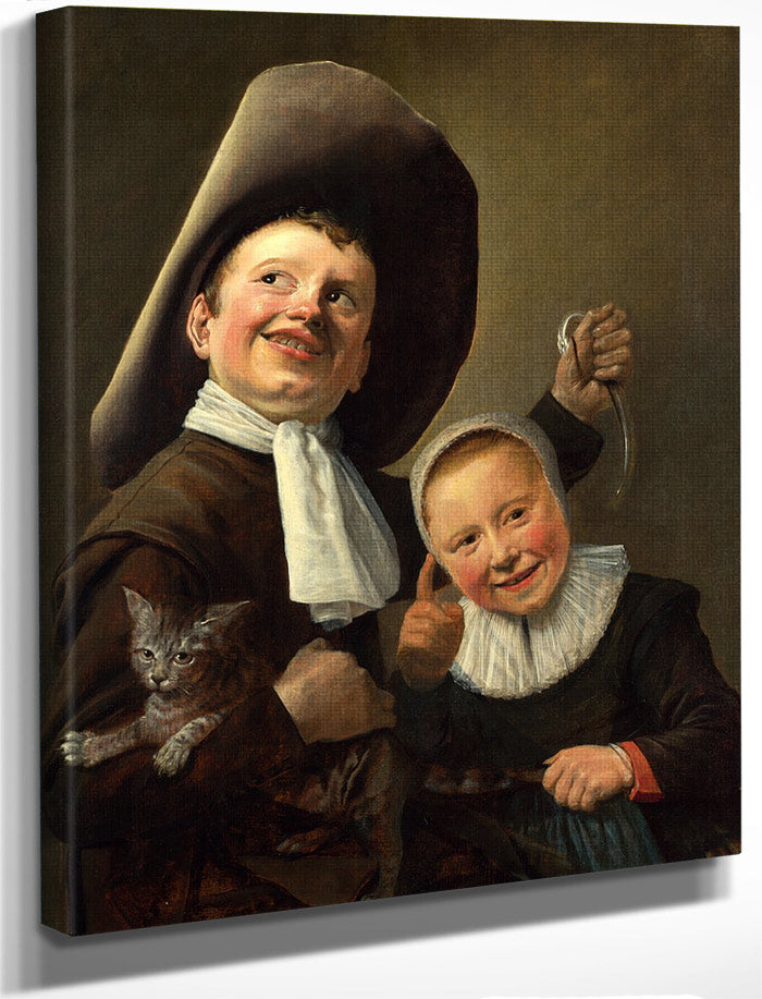 A Boy And A Girl With A Cat And An Eel 1635 By Judith Leyster