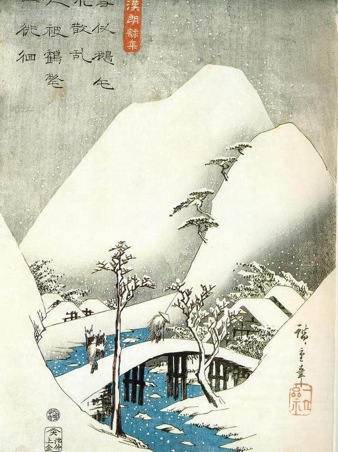 A Bridge In A Snowy Landscape By Hiroshige