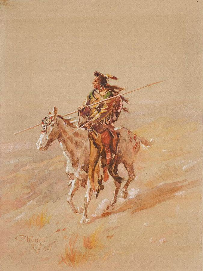 A Crow Chief On Horseback By Charles Marion Russell