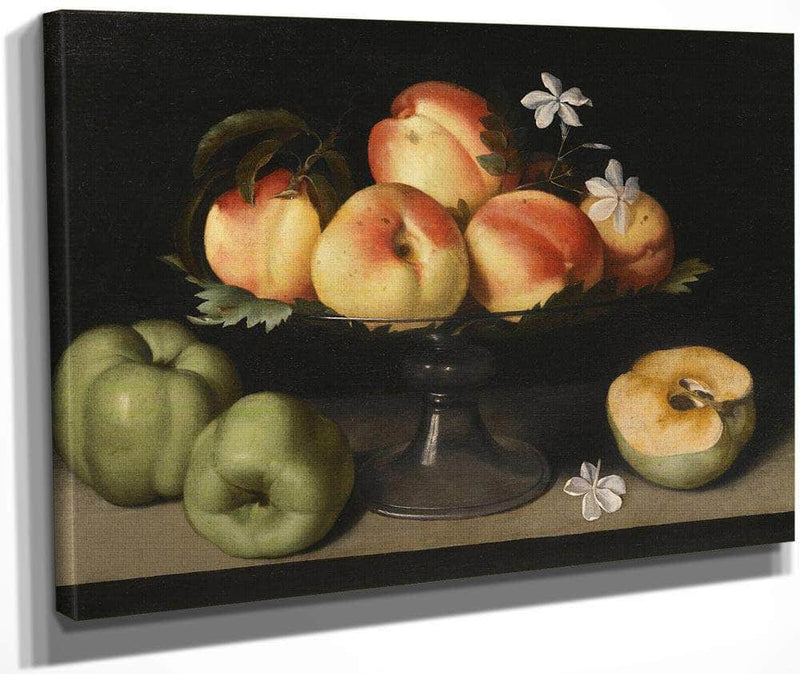 A Crystal Fruit Stand With Peaches Quinces And Jasmine 1607 By Fede Galizia