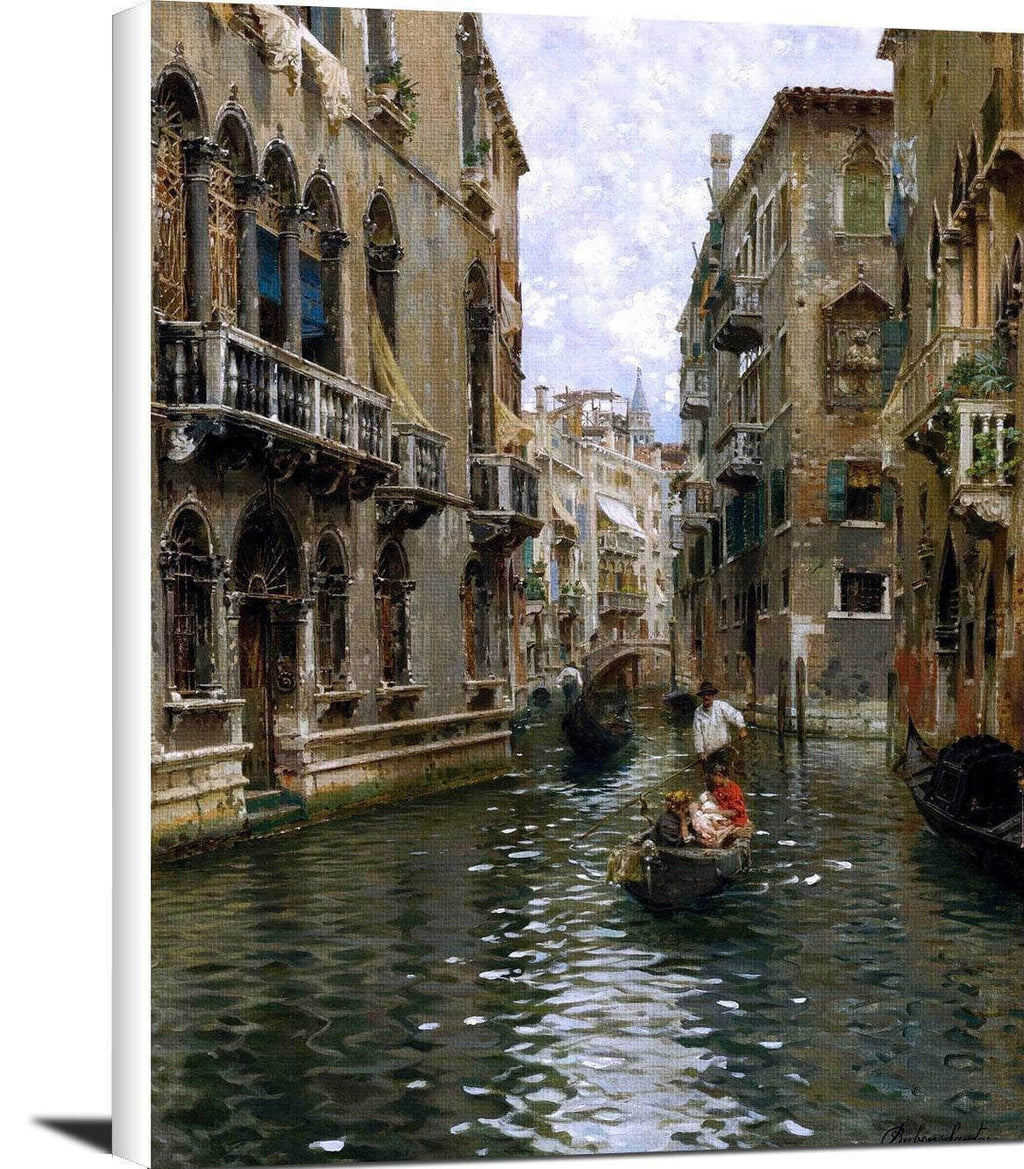 A Family Outing On A Venetian Canal Painting Rubens Santoro Canvas Art
