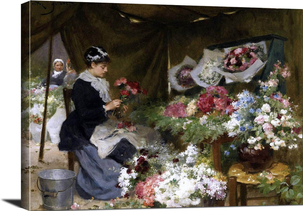 A Flower Seller Making Her Bouquets Painting Victor Gilbert Canvas Art