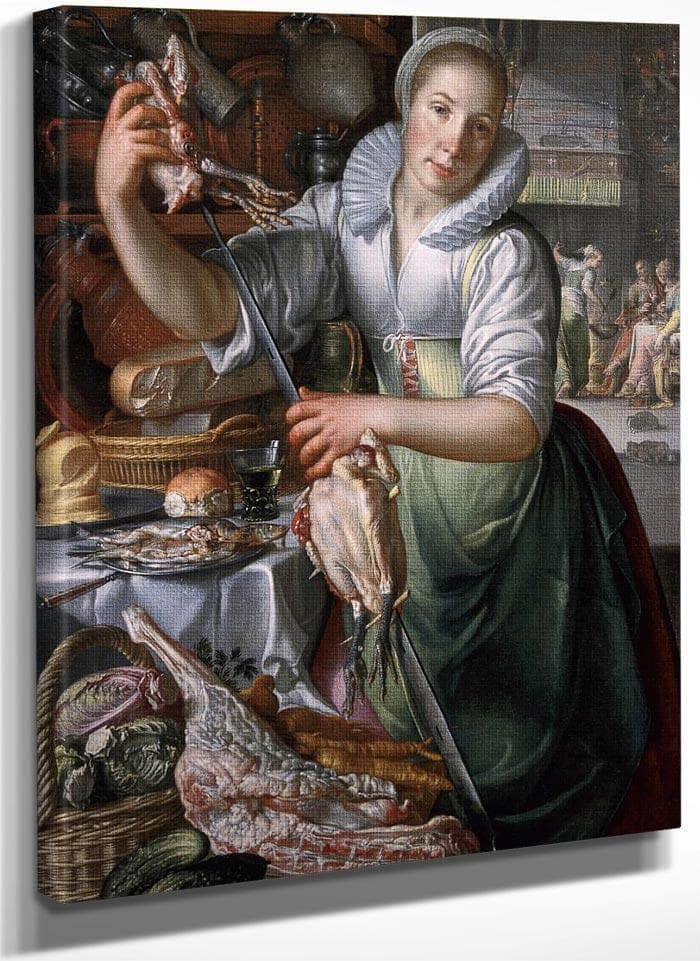 A Kitchenmaid In The Background Jesus In The House Of Mary And Martha By Joachim Wtewael
