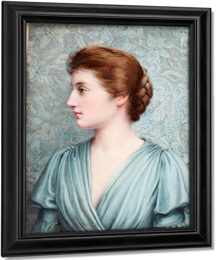 A Lady, In Profile To The Left Before An 'Arts And Crafts' Background, Wearing Duck Egg Blue Draped Dress With Bell Sleeves, Her Brown Hair Upswept And Plaited Into A Knot At The Back Of Her Head.