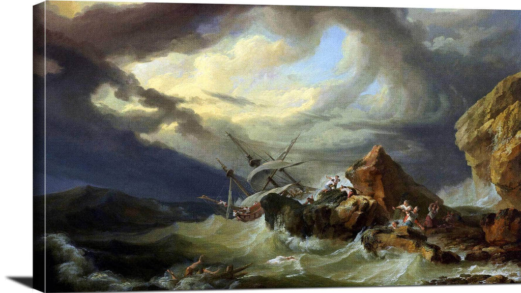 A Shipwreck Off A Rocky Coast Painting Philippe Loutherbourg Canvas Art