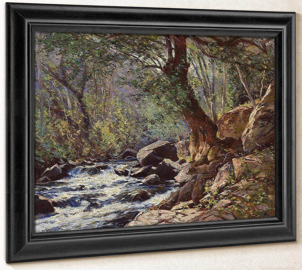 A Tranquil Stream In A Forest Interior By William Wendt