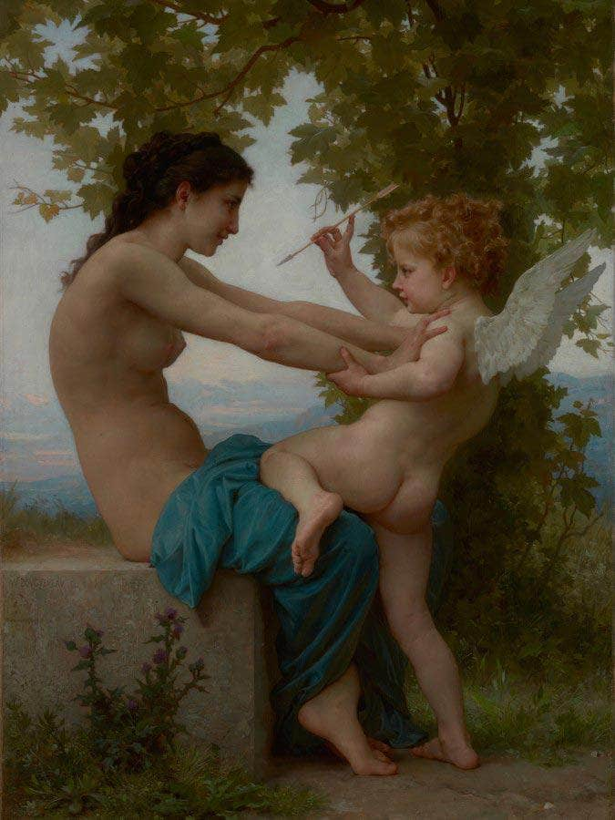 A Young Girl Defending Herself Against Eros  By William Adolphe By Bouguereau