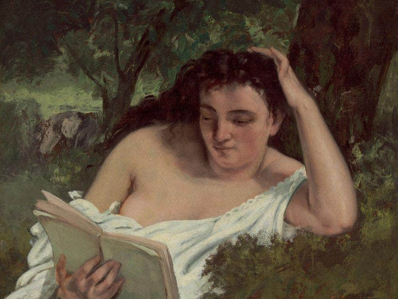A Young Woman Reading By Gusave Courbet