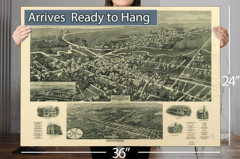 Aero View Of Absecon New Jersey 1924 Vintage Map