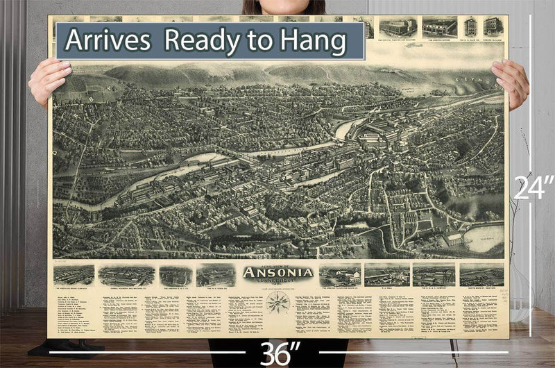 Aero View Of Ansonia Connecticut 1921 Vintage Map