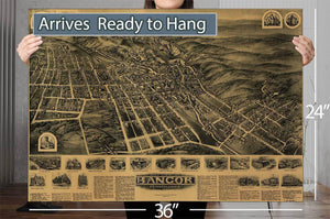 Aero View Of Bangor Pennsylvania 1918 Vintage Map