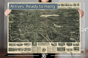 Aero View Of Canton Mass 1918 Vintage Map