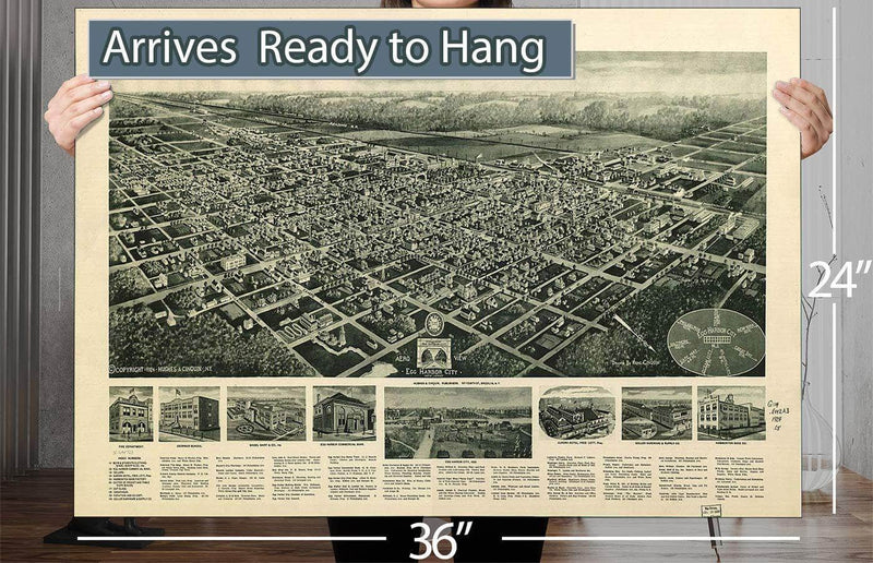 Aero View Of Egg Harbor City New Jersey Vintage Map