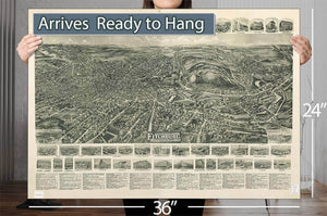 Aero View Of Fitchburg Massachusetts 1915 Vintage Map