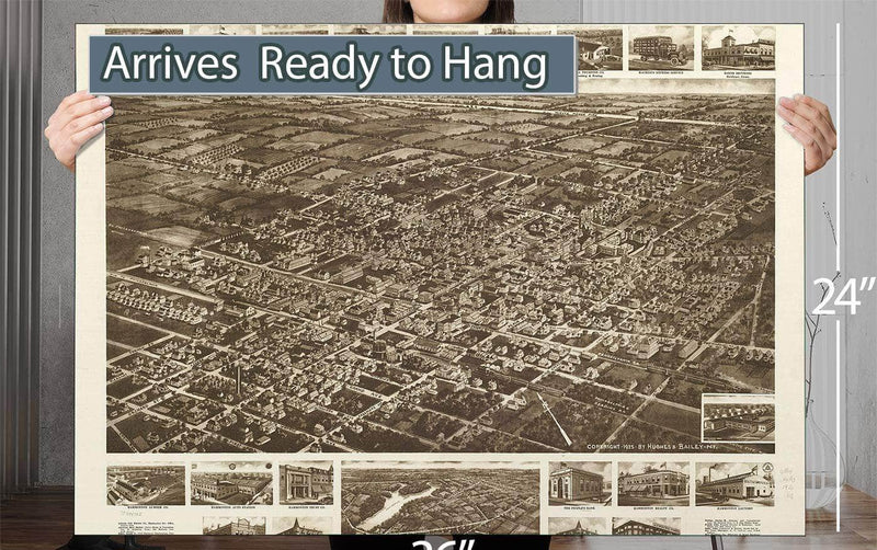 Aero View Of Hammonton New Jersey 1926 Vintage Map