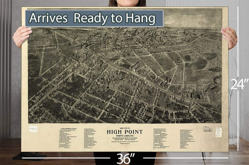 Aero View Of High Point North Carolina Vintage Map