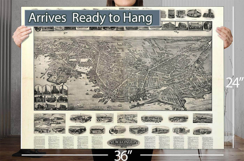 Aero View Of New London Connecticut 1911 Vintage Map