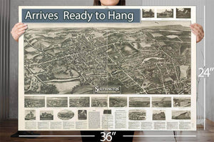 Aero View Of Southington Connecticut 1914 Vintage Map