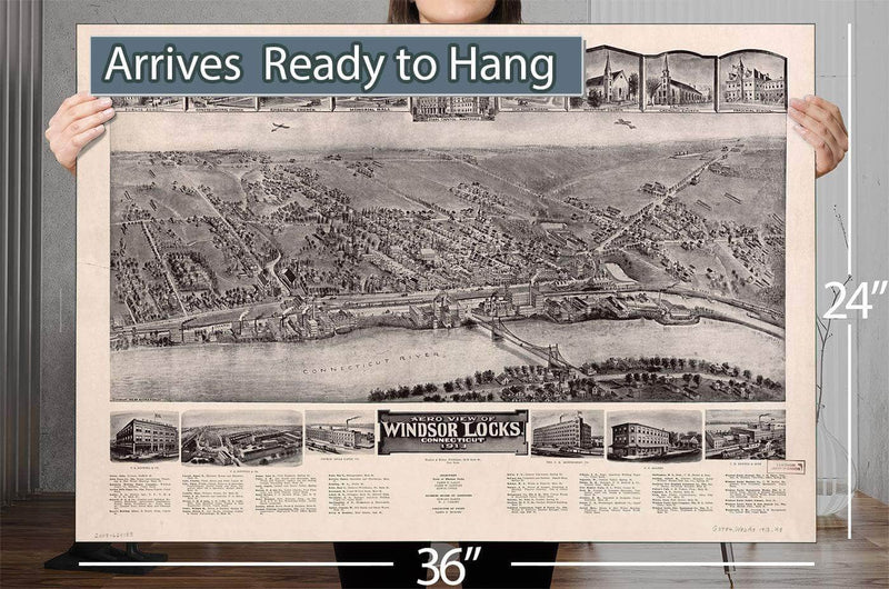 Aero View Of Windsor Locks Connecticut 1913 Vintage Map