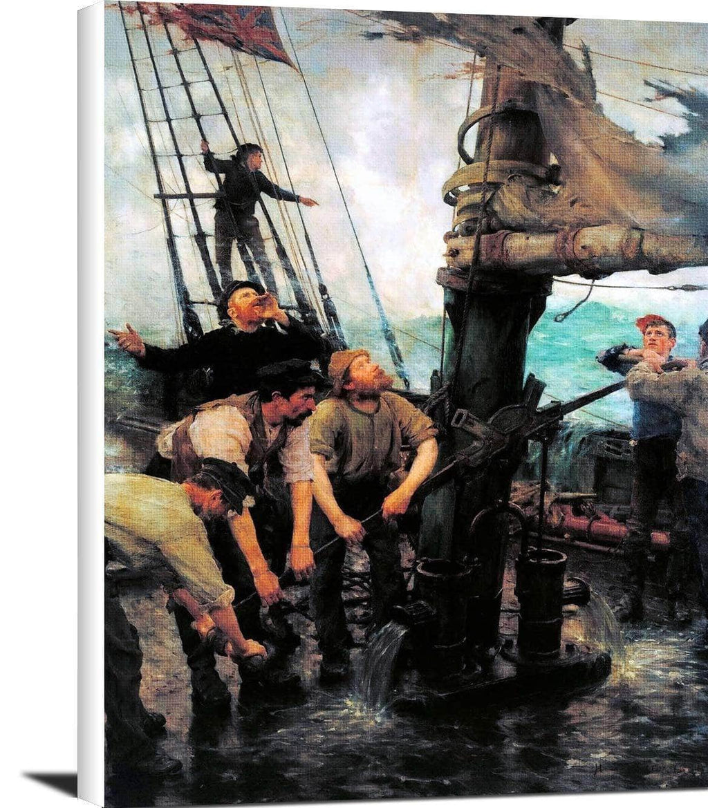 All Hands To The Pumps Painting Henry Scott Tuke Canvas Art