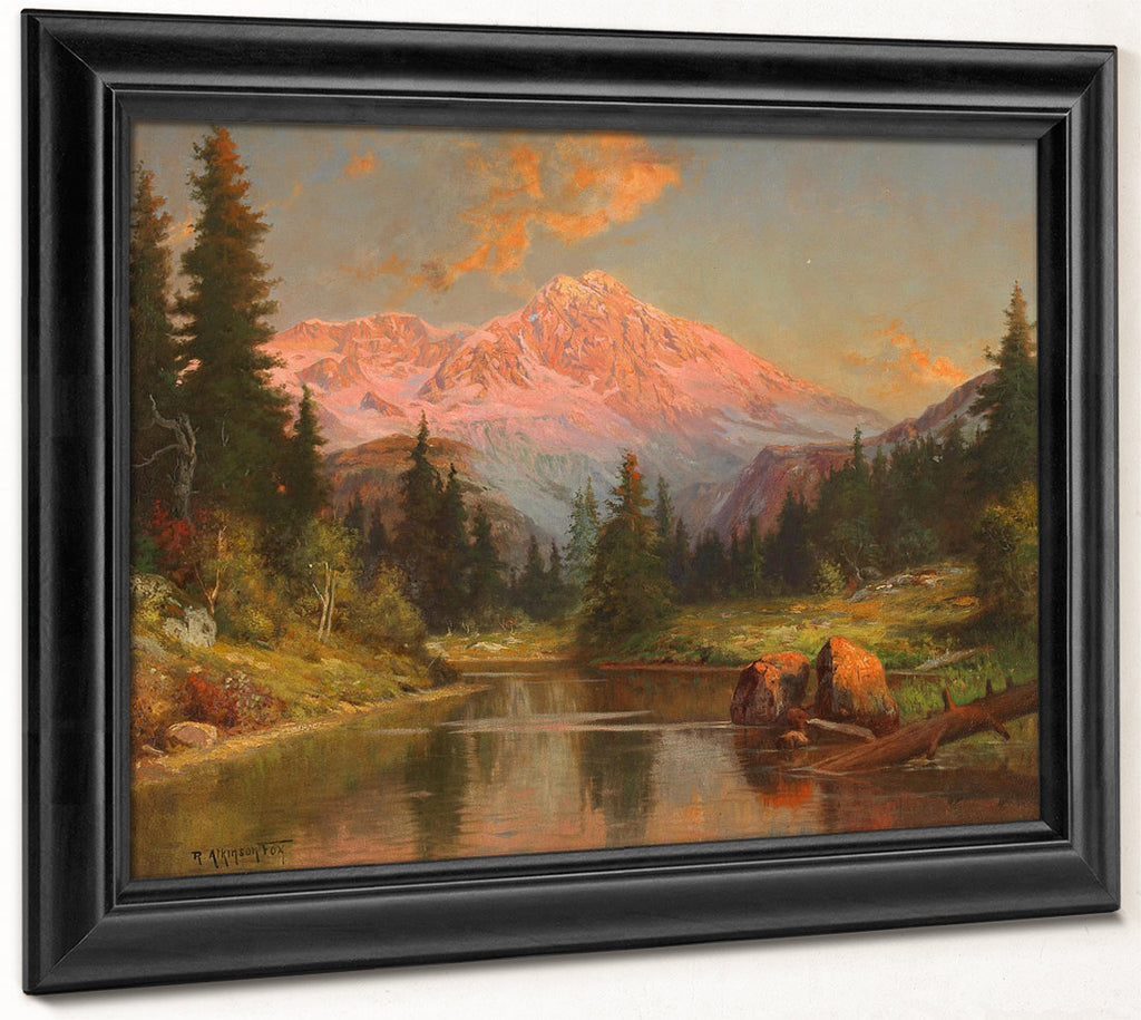 Alpine River Scene At Sunset By Robert Atkinson Fox