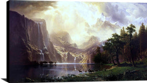 Among The Sierra Nevada Mountains Painting Albert Bierstadt Canvas Art